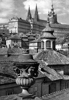 overzicht van Praag vanaf een hoog standpunt: over daken met versieringen heen is een groot gebouw in beeld