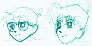 Conan and Shinichi faces comparsion.