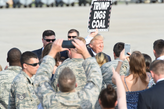 Donald J. Trump and Mike Pence shake the hands of 193rd Special Operations Wing Airmen, and Airmen's family and friends, Middletown, Pennsylvania, 29 April 2017. Photo: 1st Sgt. Culeen Shaffer / 193rd Special Operations Wing