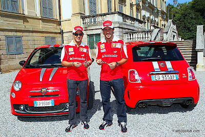 Fiat 500 and Fernando Alonso and Felipe Massa