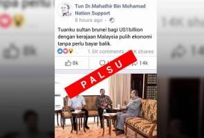 Berita palsu! Dakwaan Sultan Brunei beri AS$1 bilion tidak benar - Jabatan Perdana Menteri