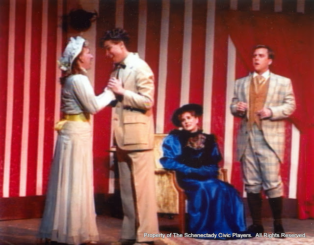 Sara L. Melita, David Finkle, Cristine Henry Sendra and Jeff Nuding in THE IMPORTANCE OF BEING EARNEST (R) - December 1989.  Property of The Schenectady Civic Players Theater Archive.