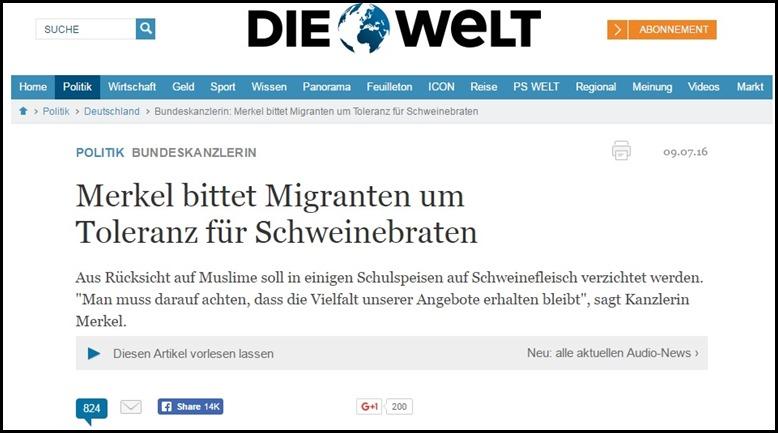 Merkel bittet um toleranz für Schweinefleisch