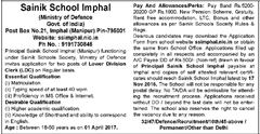 Sainik School Imphal Advertisement 2016 www.indgovtjobs.in