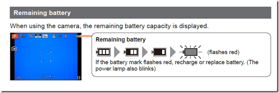 Battery levels for camera from manual
