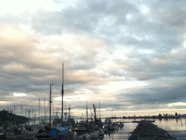 boats docked in a cloud covered sunset
