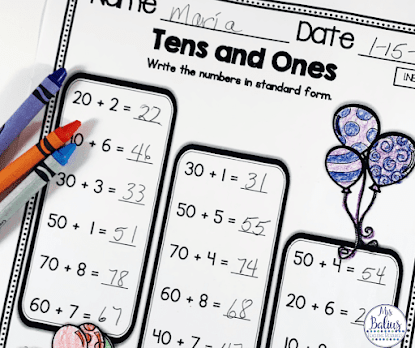 Giving students lots of practice with tens and ones is very important to help them understand the base ten number system.