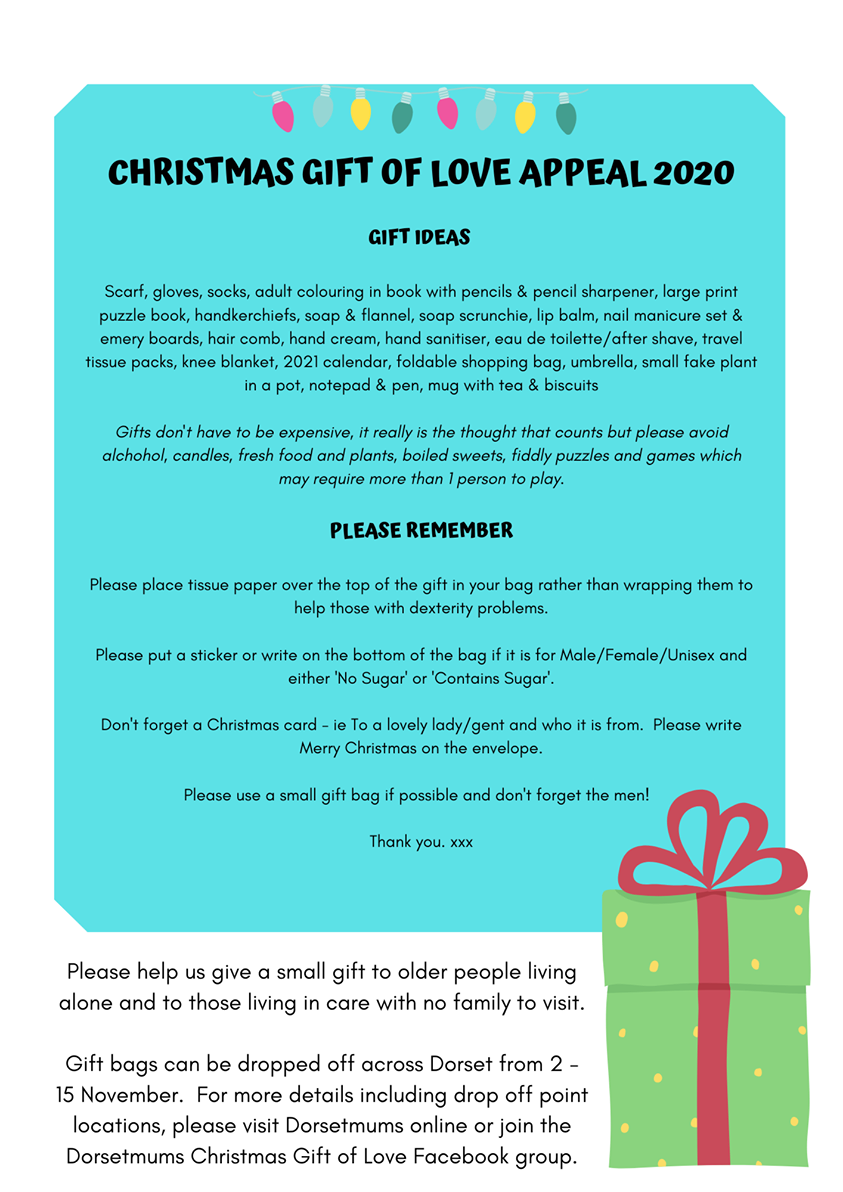Dorset mums , Christmas gift of love appeal 2020