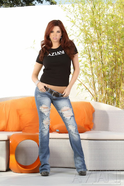 Aziani cutie Sabrina Maree shows off in an Aziani t and jeans