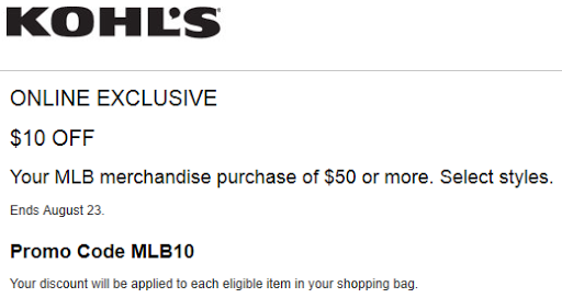 Kohls coupon $10 off $50 MLB Merchandise