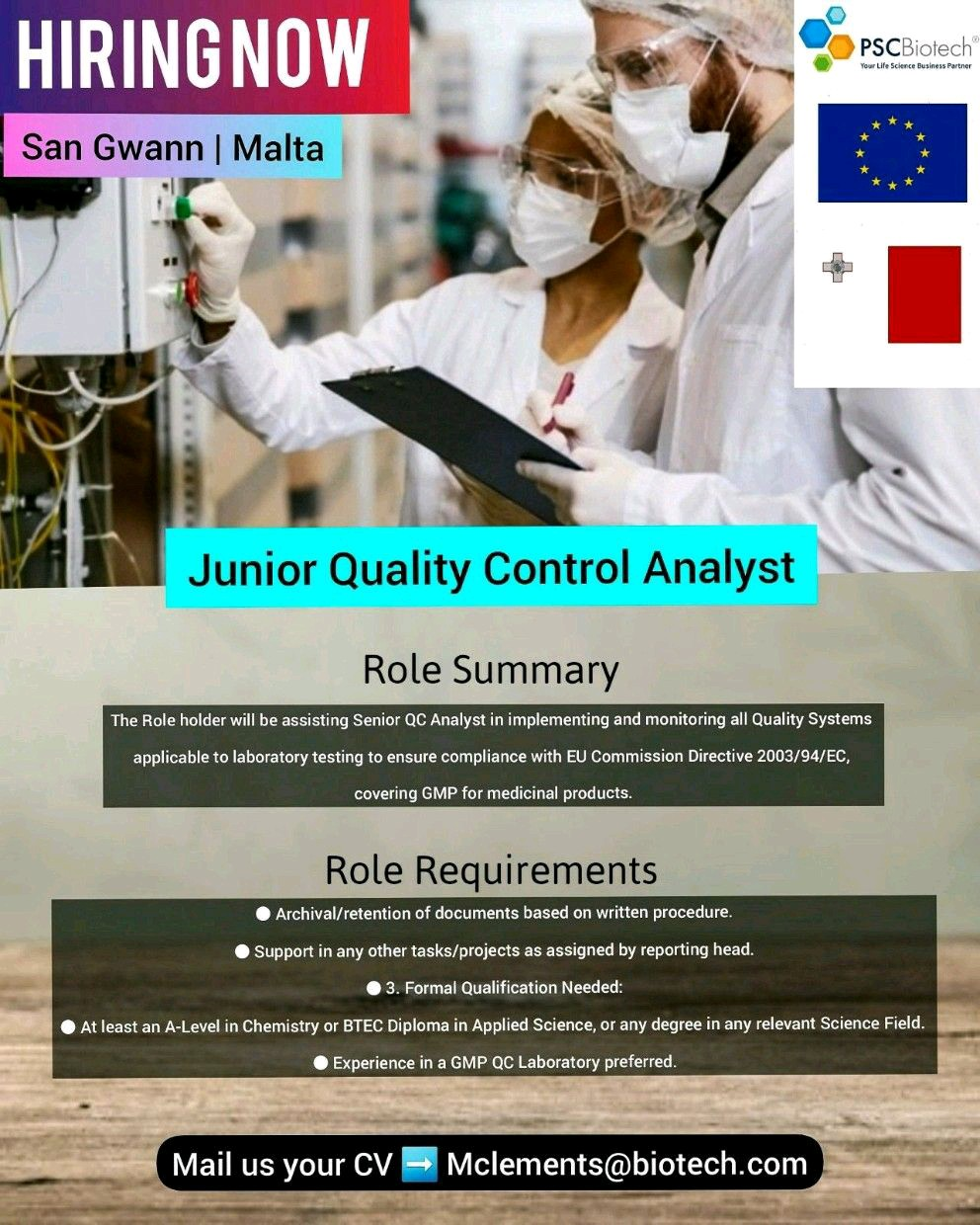 Opening For Quality Control Analyst At PSC Biotech At San & Malta