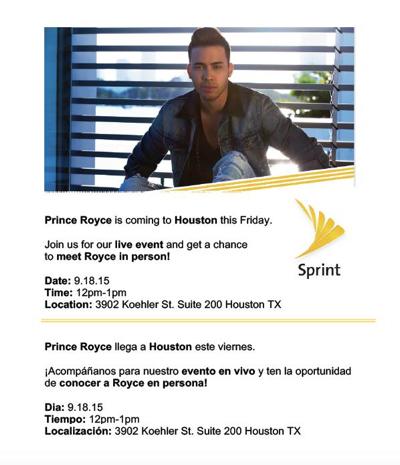 Prince Royce in Houston thanks to Sprint Latino