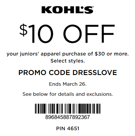 Kohl's Coupon $10 OFF $30 Juniors Apparel 2016