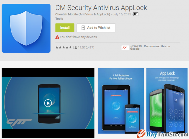 Diệt virus , quét virut điện thoại với CM Security