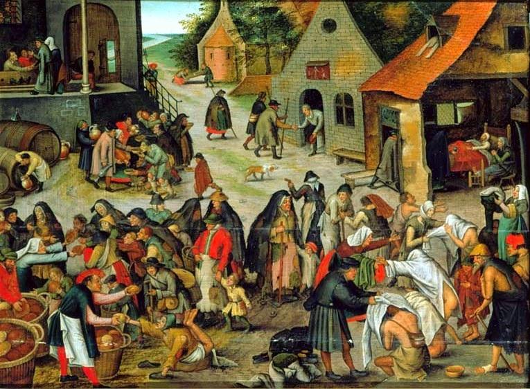 En forma de escena aldeana ambientada en los Países Bajos se reprensentas las obras de misericordia
