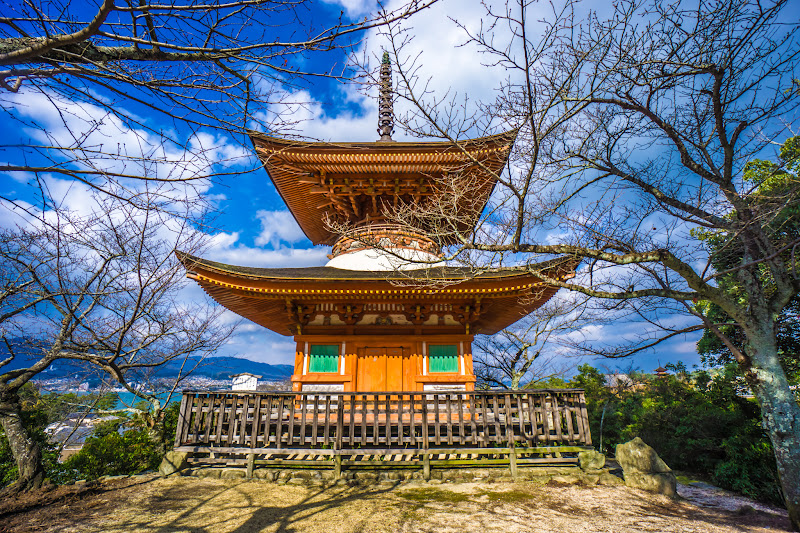 Miyajima itsukushima shrine Tahoto (Two story Pagoda)
