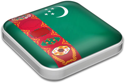 Flag of Turkmenistan with metallic square frame