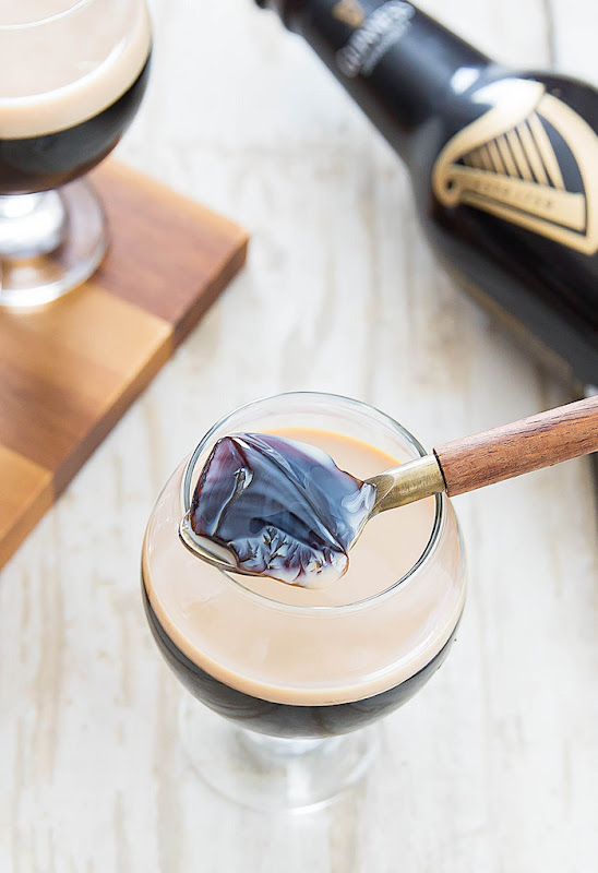 overhead photo of Guinness Stout Jello with Baileys Irish Cream