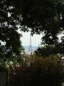 The Eiffel Tower captured between the boughs of a tree in the park on Montmartre.