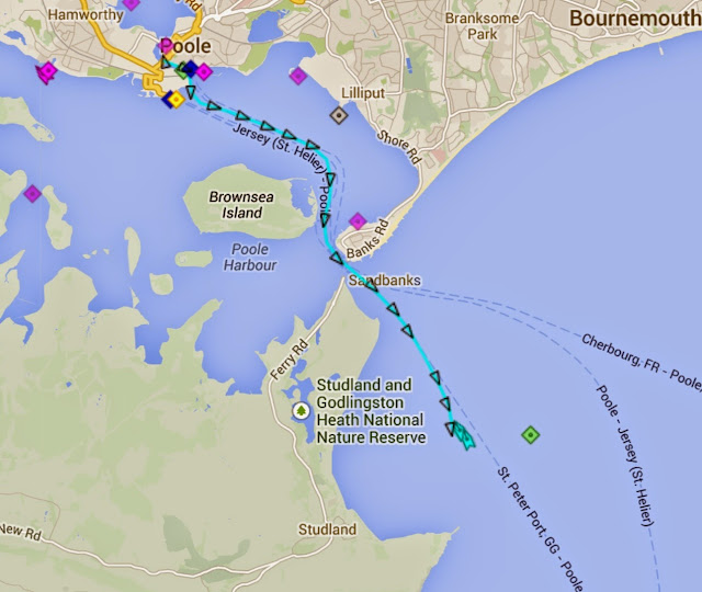 Track of Poole ALB from Poole Lifeboat Station, going to assist a broken down motorboat on 15 August 2014. Photo: RNLI Poole/marinetraffic.com