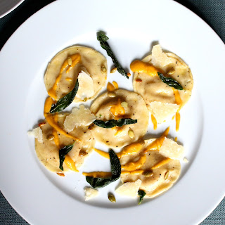 Butternut Squash and Mascarpone Ravioli with Toasted Pumpkin Seeds and Crispy Sage.