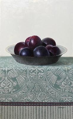 textile pattern, plums, still life