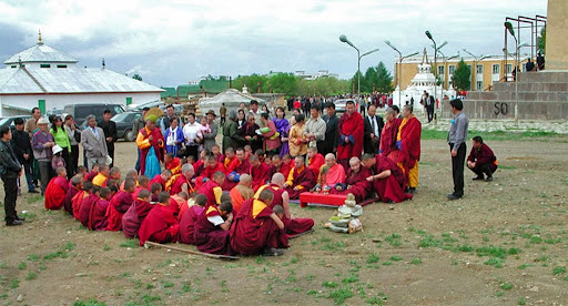 Ground blessing ceremony for Idgaa Choizinling Dratsang in the Ganden Monastery complex, Ulaanbaatar, Mongolia, 2001. Photo by Ueli Minder. Seventy years of Soviet-backed communist rule, nearly obliterated Buddhism in Mongolia, which had previously been a strongly Buddhist county.