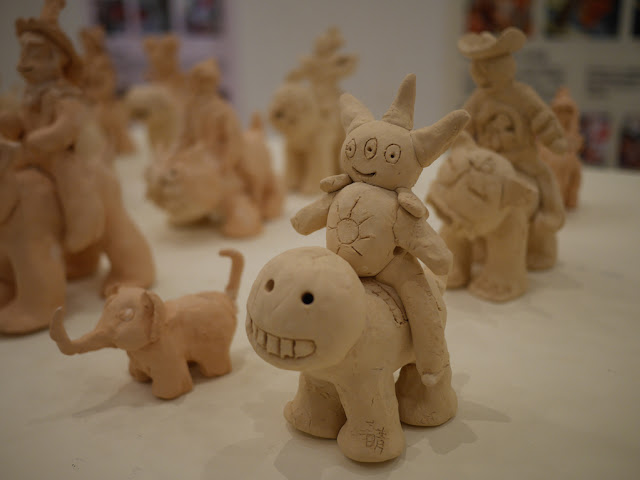 small sculpture of creatures made by a child on display at the Historical Folk Museum in Kinmen