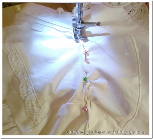 Pin and re-sew the collar back on to the blouse, but backwards on the blouse so the odd seam won't show.