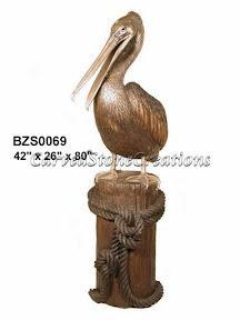 Bronze, Pelican, Statue