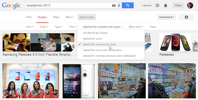 Google Image Search offering usage rights info