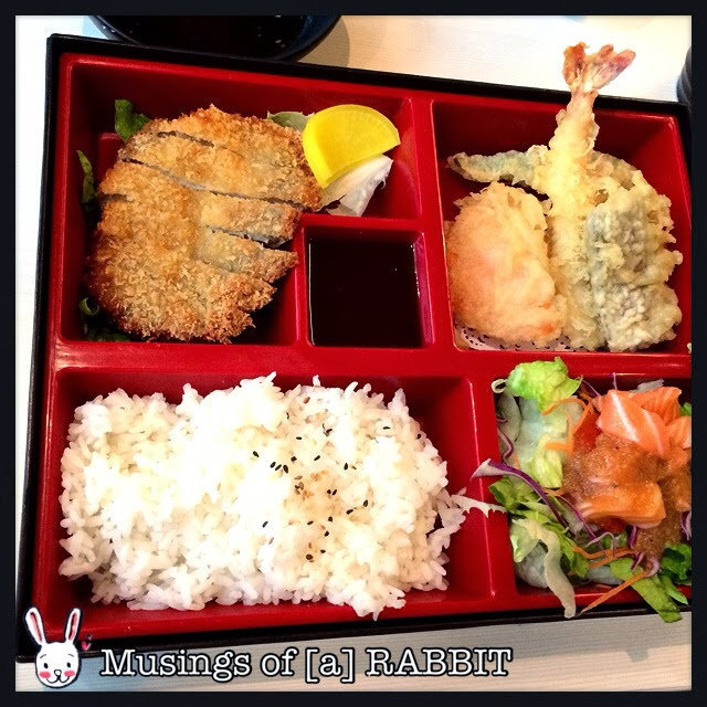 Tonkatsu, Mixed Tempura, Sake Salad, Rice and Miso Soup