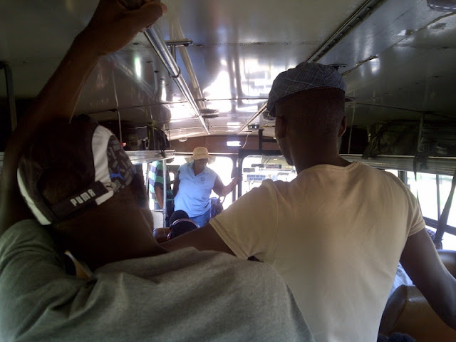 Standing room only on the bus to Mochudi