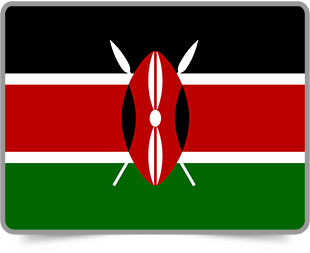 Kenyan framed flag icons with box shadow