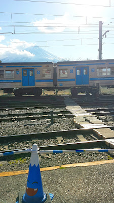 View of Fujisan from Kawaguchiko Station when disembarking the Fujikyu Railway car
