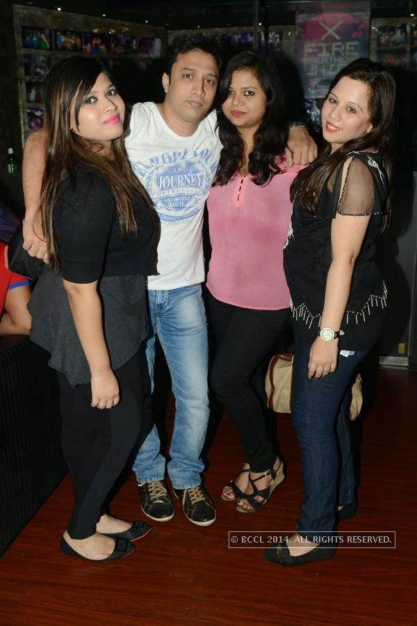 Merin, Hassan, Santana and Vanitha during a party at Illusions, in Chennai.
