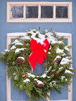 Wreath on a blue door