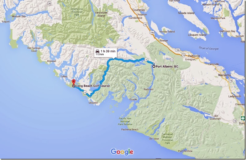 Port Alberni, BC to Long Beach Golf Course - Google Maps