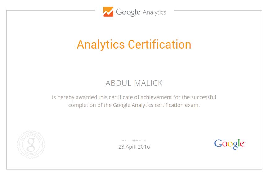 Google Analytics Certified Consultant - Abdul Malick