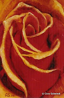 'Rosenknospe orange', Öl auf Leinwand, 20x30, 2000, verkauft