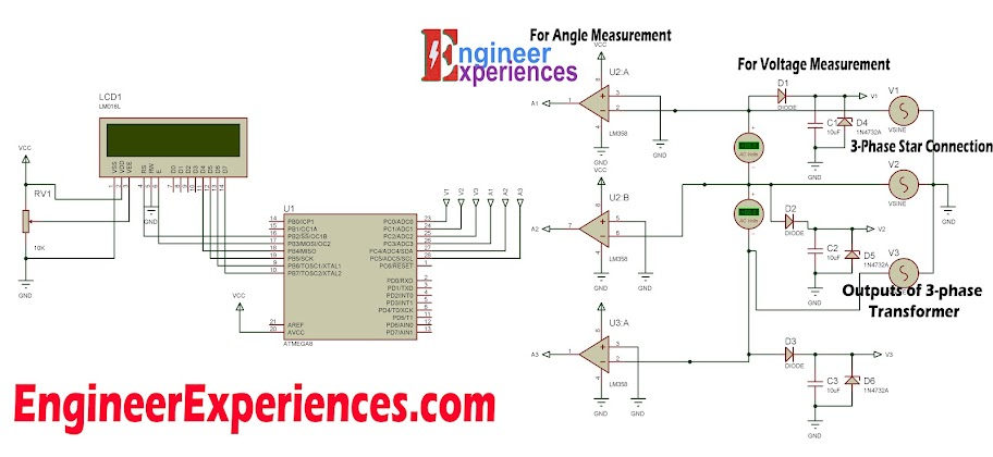 Circuit Diagram for 3 Phase Voltage Measurement