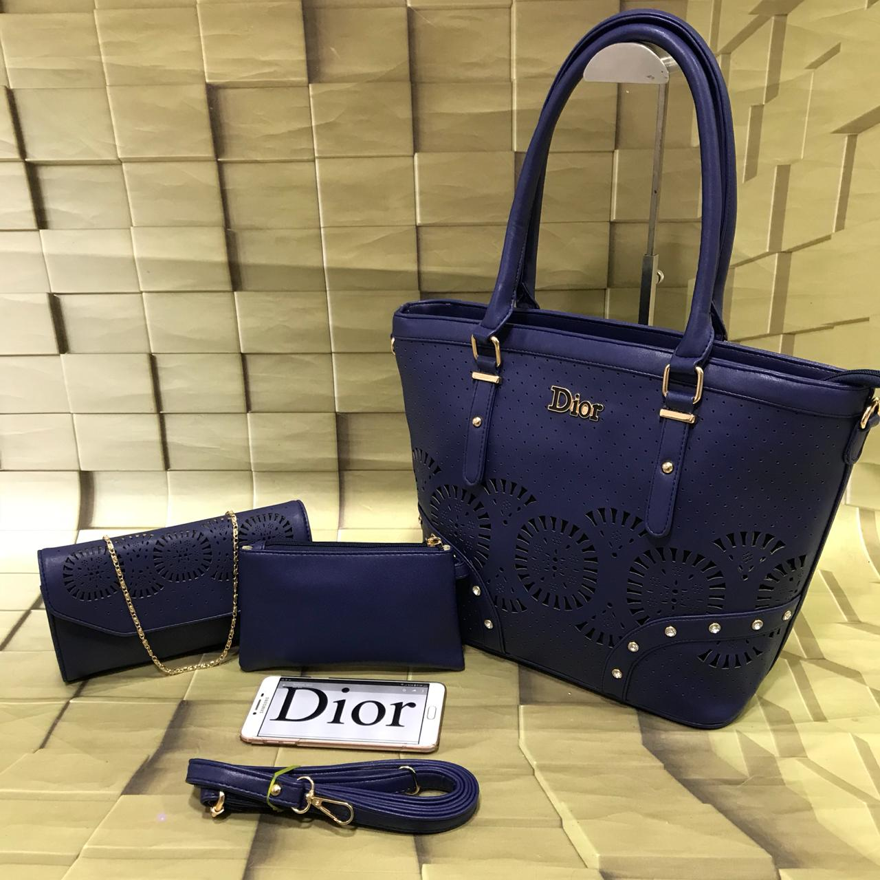ca87d70efa6b DIOR luxury culture cutwork model 3 pcs combo Handbag👜 wallet cum sling 👛  and Pouch combo 👝 Choice ur colours Super look n quality 😎