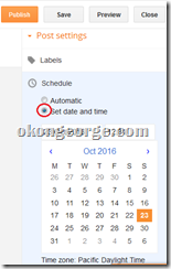 Schedule date and time for new post