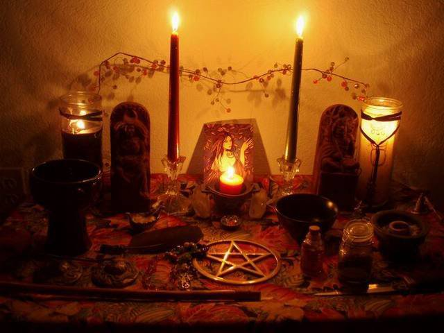 Wiccan Altair With 2 Candles, Wicca Girls