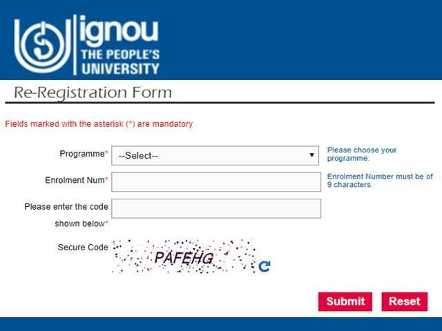 IGNOU Re Registration January 2021 | Register Here