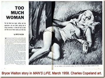 MAN'S LIFE, March 1958 - Bryce Walton story, Charles Copeland art