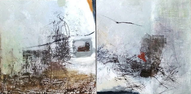 "'Soaring' diptych 24"" x 48"" Oil on Canvas"