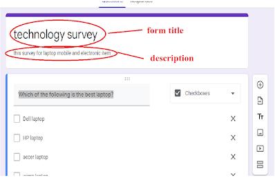 google form for a survey