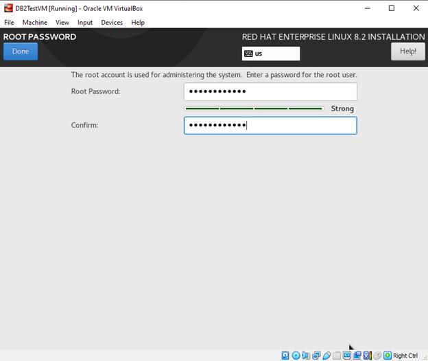 RHEL 8.2 Root Password screen
