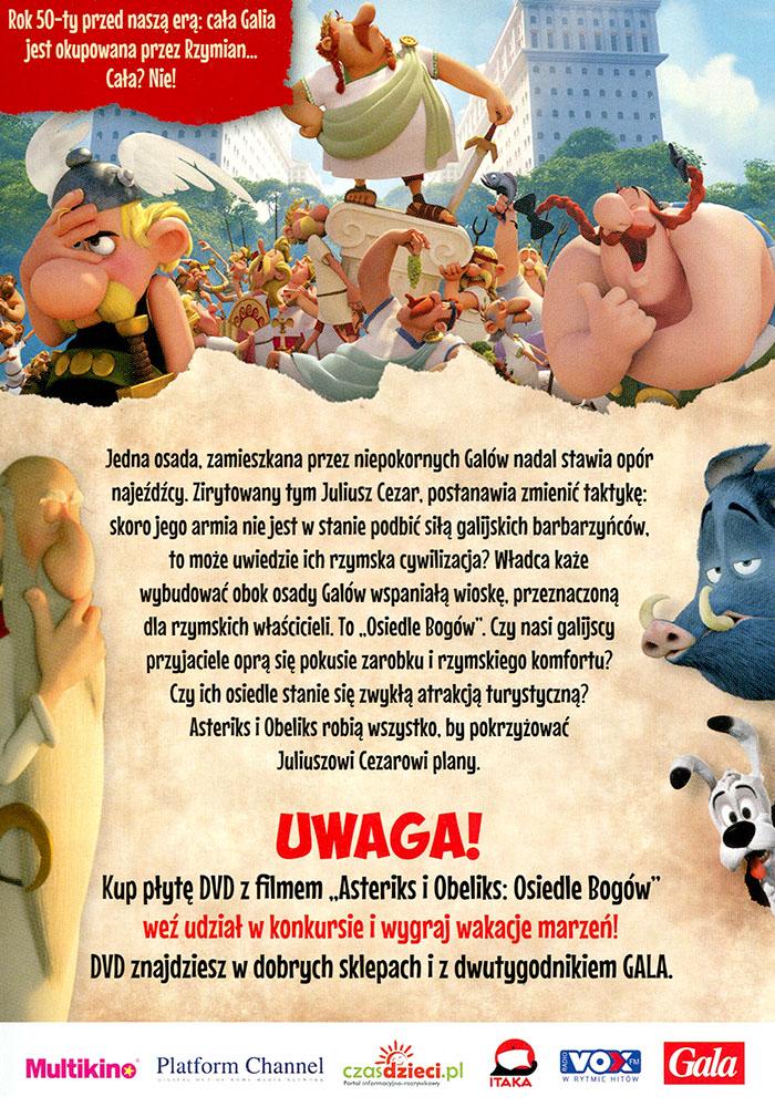 Ulotka filmu 'Asteriks i Obeliks: Osiedle Bogów (tył - wersja B)'